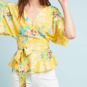 Anthropologie YUMI KIM yellow floral kimono wrap